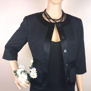 Bebe Wool Pinstriped Fitted Crop Blazer Jacket